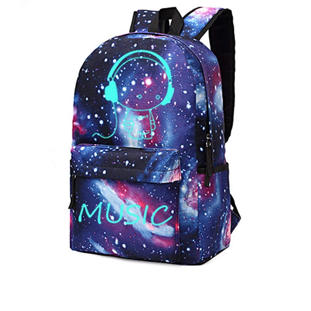Kangcheng Anime Cartoon Luminous Backpack Niños Niñas Unisex Oxford School Mochila Moda Galaxy Daypack Hombro Mochila Escolar Laptop Bolsa de Viaje