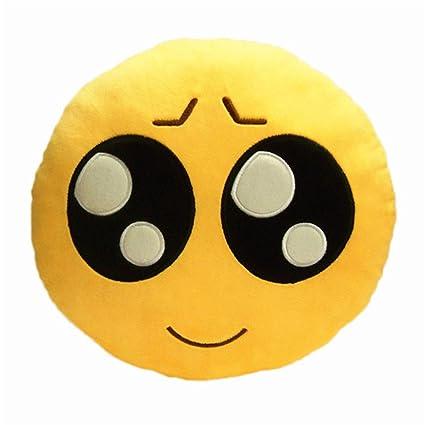 Emoji Emoticono amarillo Squar cojín peluche suave funda de ...
