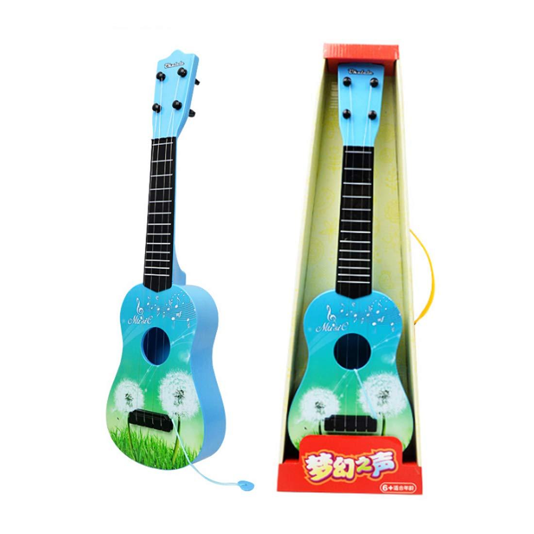 DAN DISCOUNTS Ukulele Kindergitarre, Simulation Ukulele Spielzeug 4 Saiten Kindergitarre Kinder Gitarre Pädagogisches Spielzeug für ab 3 Jahre- Blau L