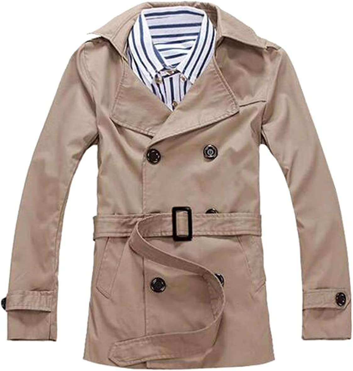 FSSE Mens Regular Fit Cotton Casual Solid Color Double Breasted Trench Coat Jacket
