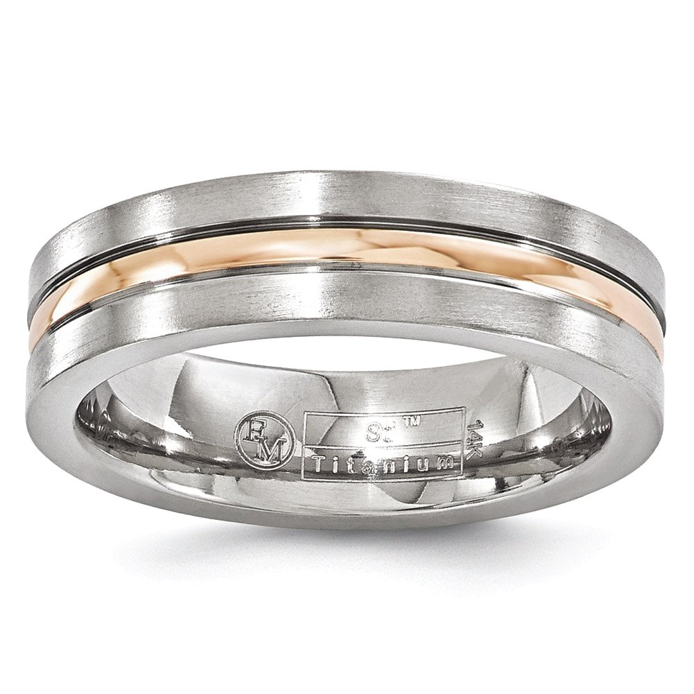 Edward Mirell Titanium and 14k Rose Gold Grooved 6mm Band