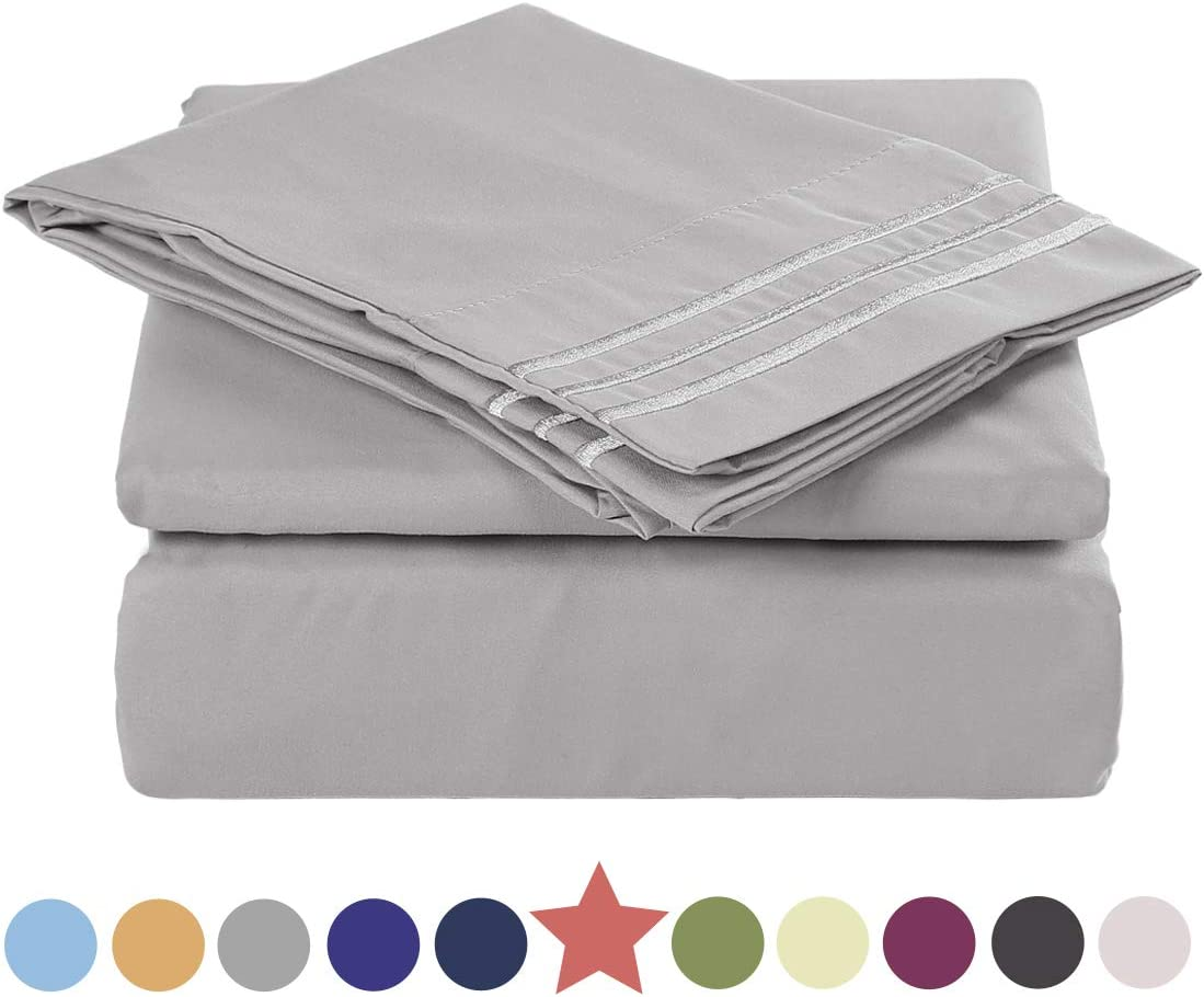 """TEKAMON Premium 4 Piece Bed Sheet Set 1800TC Bedding 100% Microfiber Polyester - Super Soft, Warm, Breathable, Cooling, Wrinkle and Fade Resistant - 10-16"""" Extra Deep Pockets, King, Grey"""