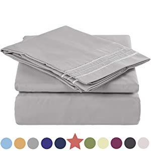 TEKAMON Premium Queen Size 4 Piece Bed Sheet Set 1800 TC Bedding 100% Microfiber Polyester -Super Soft, Warm, Breathable, Cooling, Wrinkle and Fade Resistant - 10-16'' Extra Deep Pockets, Grey