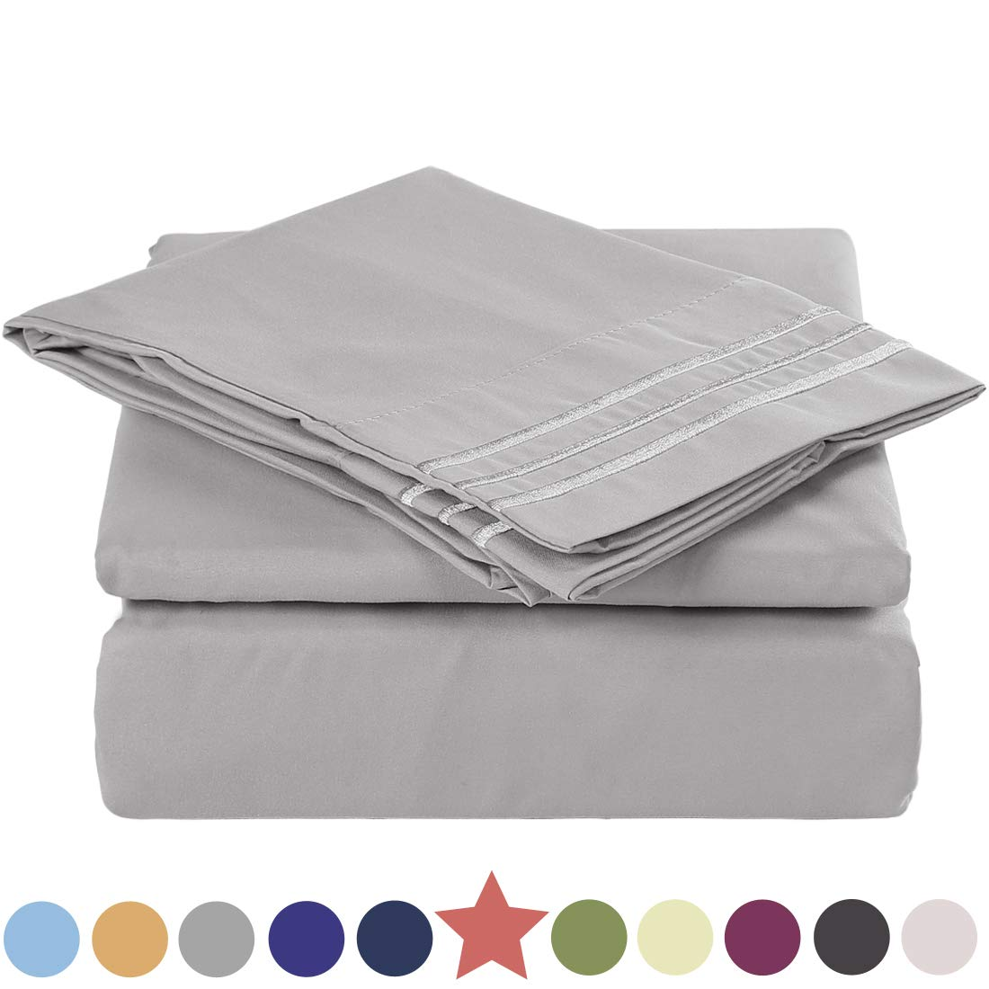TEKAMON Premium 3 Piece Bed Sheet Set 1800TC Bedding 100% Microfiber Polyester - Super Soft, Warm, Breathable, Cooling, Wrinkle and Fade Resistant - 10-16'' Extra Deep Pockets, Twin, Grey