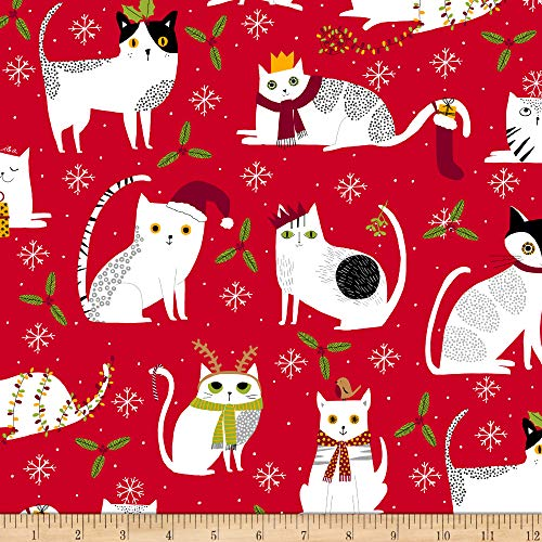 Ink & Arrow Meowy Christmas Christmas Cats Red Fabric by the Yard