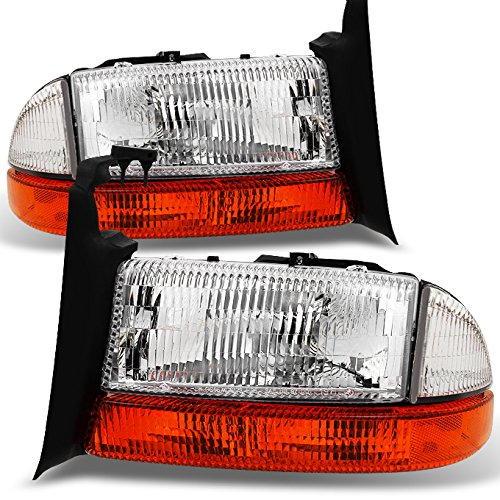 1997-2004 Dodge Dakota | 1998-2003 Durango Replacement Pair Headlights + Amber Corner Lights Set Dodge Dakota Corner Light