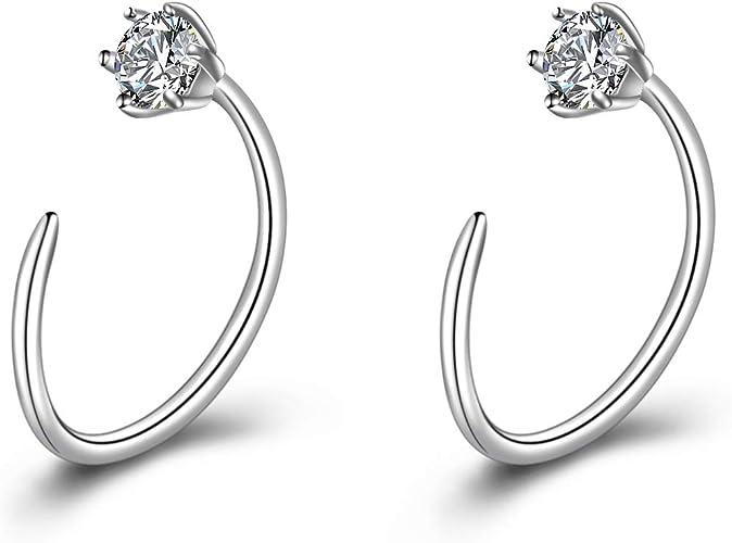 Amazon Com Winnicaca Cz Huggie Earrings Sterling Silver Simple