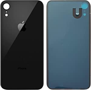 Apple iPhone XR Replacement Back Glass Cover Back Battery Door w/Pre-Installed Adhesive,Best Version Apple iPhone XR All Models Replacement (Black)