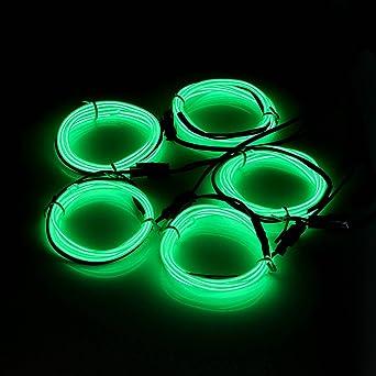 5x 1m EL Wire Grün Kabel Leuchtschnur Lichtschnur Band ...