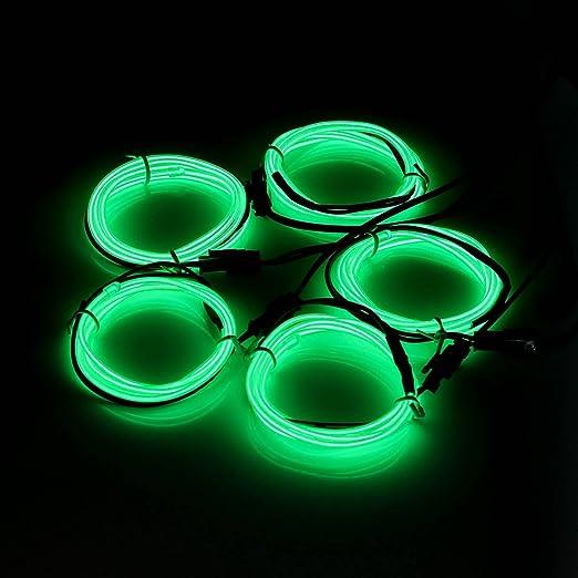 AUDEW 5x 1m Grün EL Wire EL Kabel Neon Beleuchtung leuchtschnur für ...