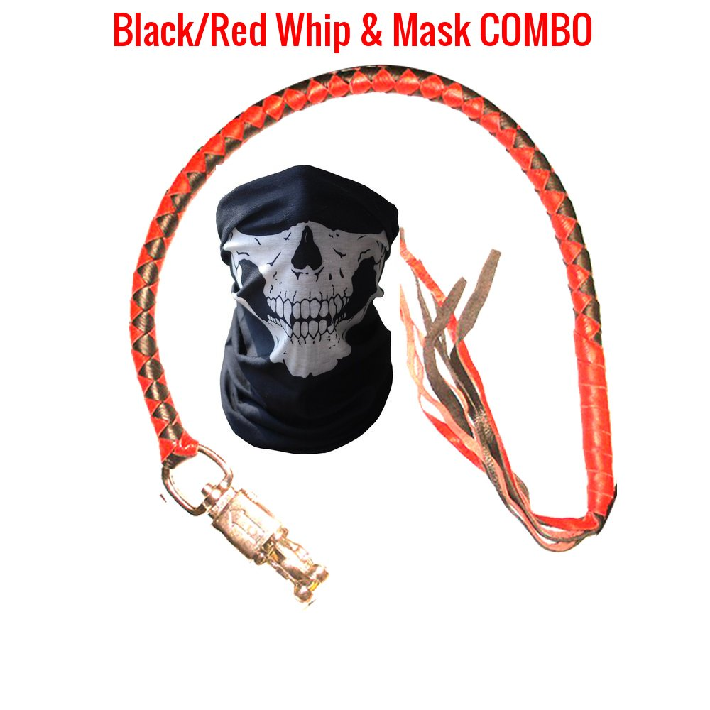 Get Back Whip Motorcycle - Premium Dealer Quality Real Cowhide Leather Biker 36'' Handlebar Whips & Half Skull Face Tubular Mask [Combo Pack] - Heavy Duty Quick Release Lever Attachment (Black/Red) by Power Auto (Image #1)