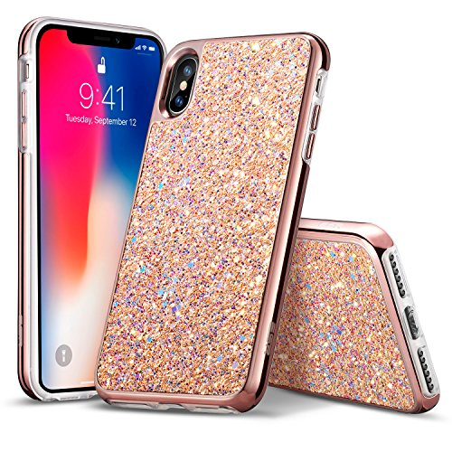 (esr Glitter Hard Case for iPhone Xs/iPhone X, Bling Hard Cover with Dual-Layer Structure [Hard PC Back Exterior + Soft TPU Interior] for The iPhone 5.8 inch(2018 & 2017)(Rosegold))