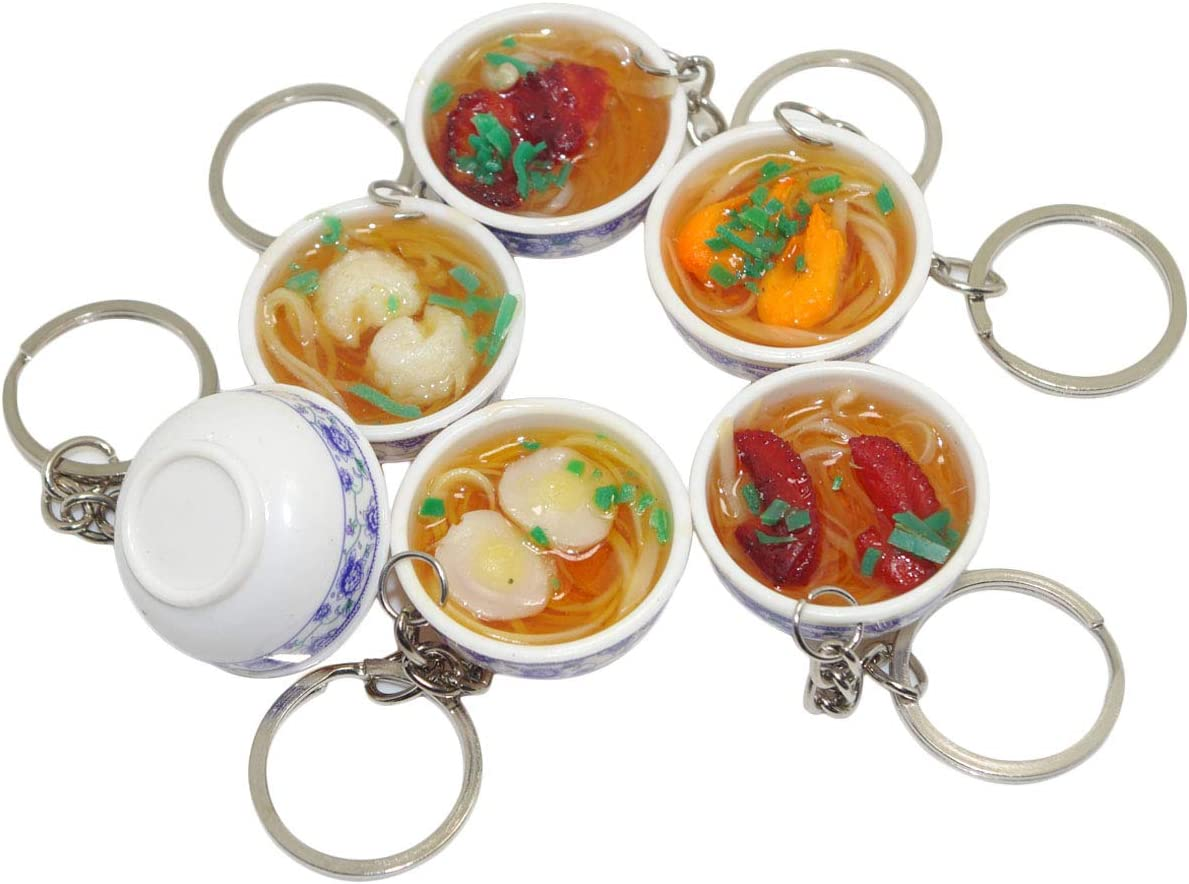 Pursuestar 6pcs Mini Lifelike Simulation Flower Bowl Noodle PVC Delicious Food Cell Phone Charm Bag Strap Pendant