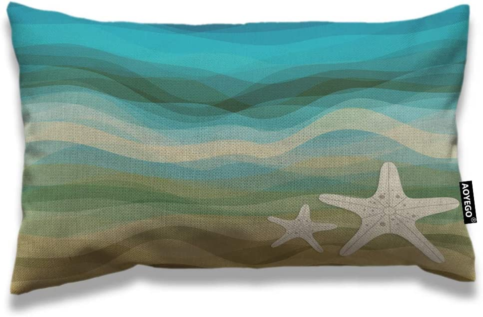 AOYEGO Wave Throw Pillow Cover 12x20 Inch Ocean Sea Waves Starfish Sandy Beach Aquatic Rectangle Pillow Cases Home Decorative Cotton Linen Cushion Cover for Bed Sofa Beige Blue