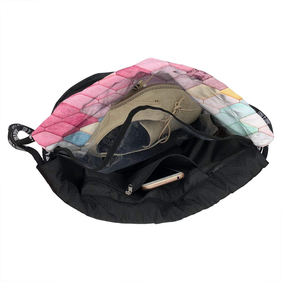 HUOPR5Q Colorful Roof Drawstring Backpack Sport Gym Sack Shoulder Bulk Bag Dance Bag for School Travel