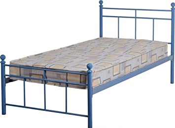 callum boys bed frame metal blue finish low foot end single