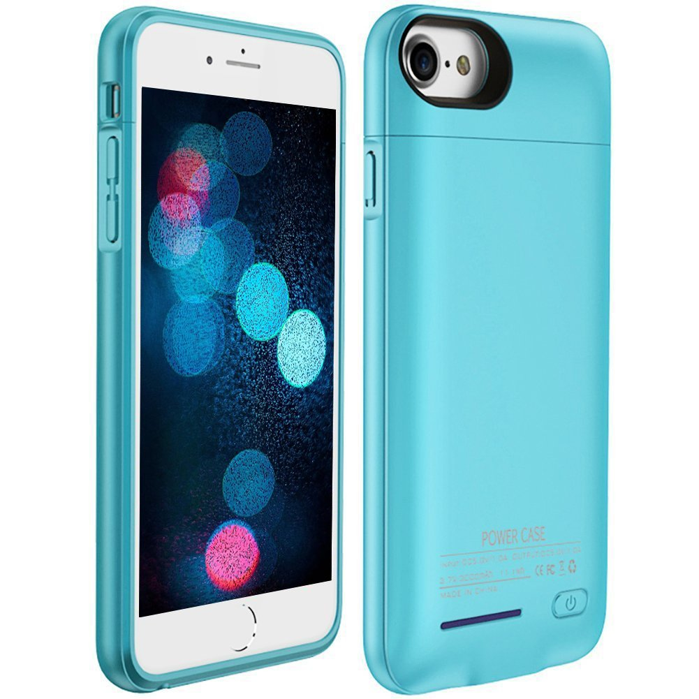iPhone 7 Plus / 8 Plus Battery Case COOLEAD Portable Charger iPhone 8 Plus / 7 Plus / 6 Plus / 6S Plus Charging Case 4200mAh Extended Magnetic Battery Pack Power Cases Juice Bank Cover [Blue]