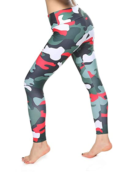 335aa284298fd LaGoo Camo Print Leggings - High Waist Yoga Pants Tummy Control Workout  Leggings for Women at Amazon Women's Clothing store: