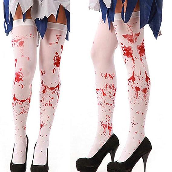 JYC Calcetines Mujer,Medias De CompresióN Mujer,1 Par Mujer Sexy Horror Blanco Halloween