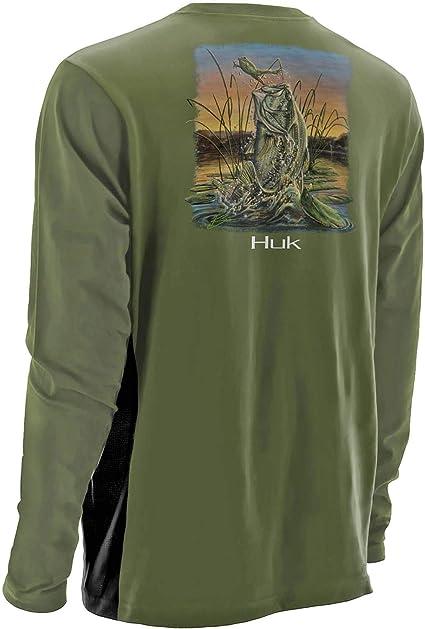 HUK FISHING PERFORMANCE SIZE M K.C SCOTT BASS SHORT SLEEVE SHIRT