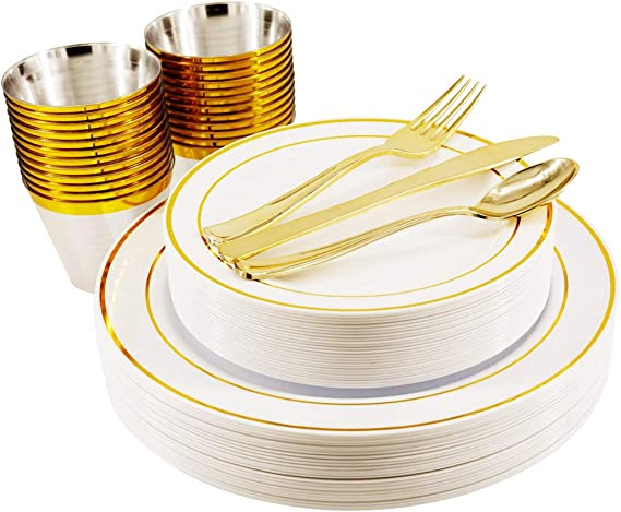 150PCS Gold Disposable Dinnerware Set - 25 Person Package Bocca Disposable Plastic Plates, Cups and Silverware, 25 Plastic Dinner Plates, 25 Salad Plates, 25 Forks, 25 Cups, 25 Spoons, 25 Knives