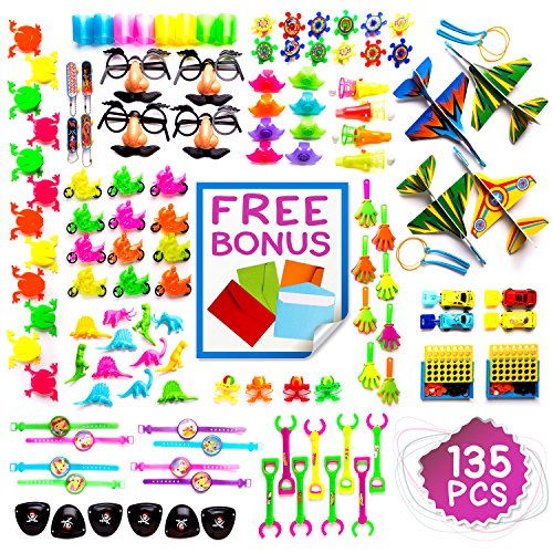 Imagine's JUMBO 135 Piece Party Favors Assortment: Colorful Toys, Pinata and Claw Machine Fillers, Carnival Prizes, Treasure Chest, Birthday Rewards, Gifts Plus Free Envelopes