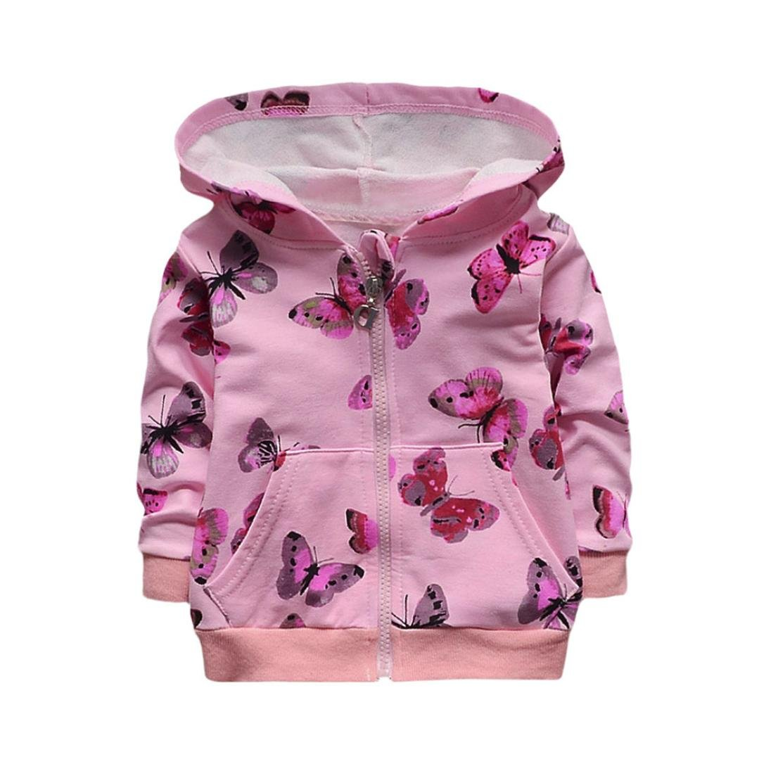 19ad7a3ff Amazon.com  KONFA Baby Girls Butterfly Print Hooded Coa