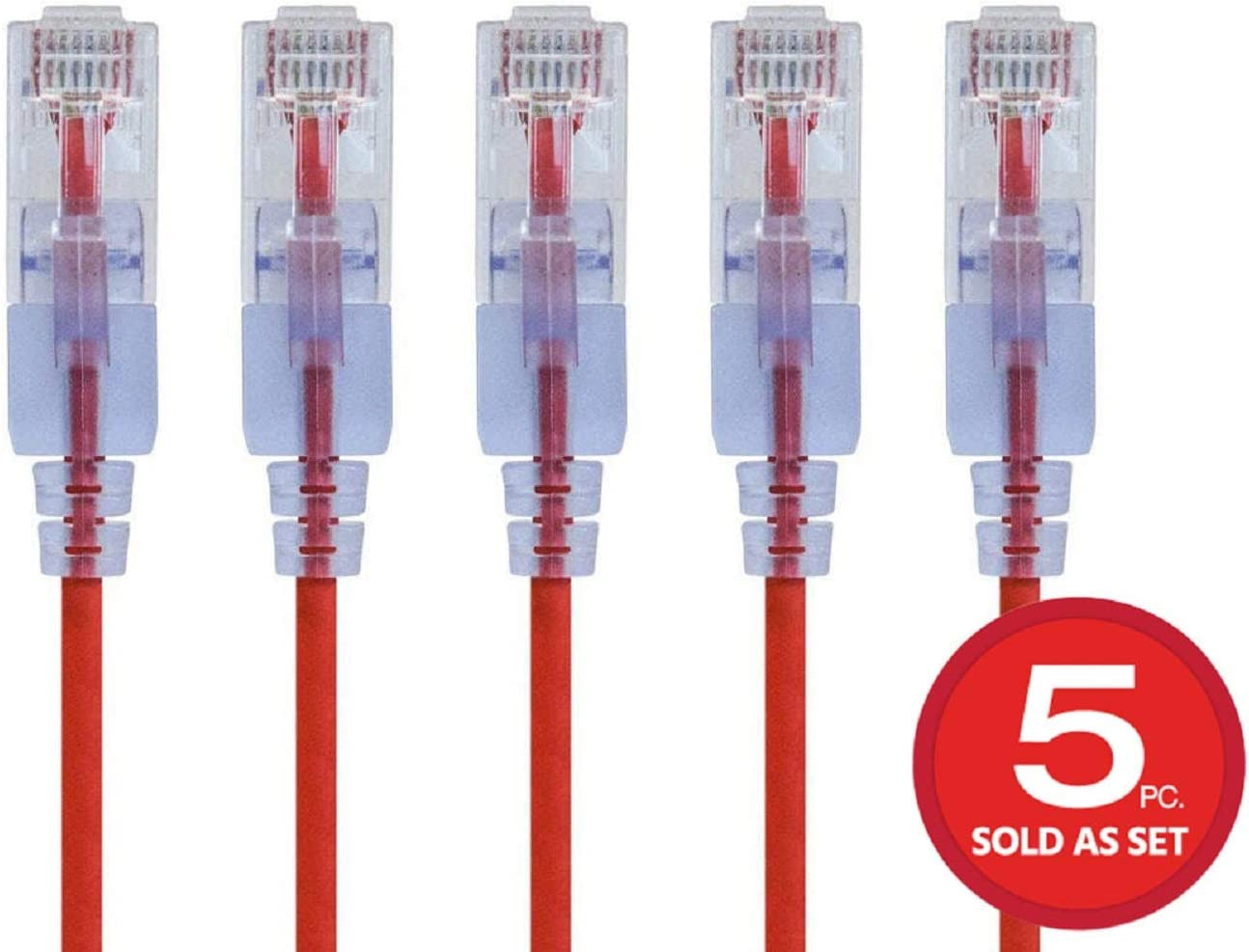 5-Pack SlimRun Series 10G 25 Feet Red Monoprice 133202  Cat6A Ethernet Network Patch Cable