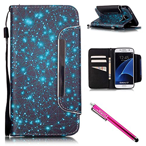 Price comparison product image Galaxy S7 Case,  Firefish [Card Slots] [Kickstand] Flip Folio Wallet Case Synthetic Leather Shell Scratch Resistant Protective Cover for Samsung Galaxy S7-Starry