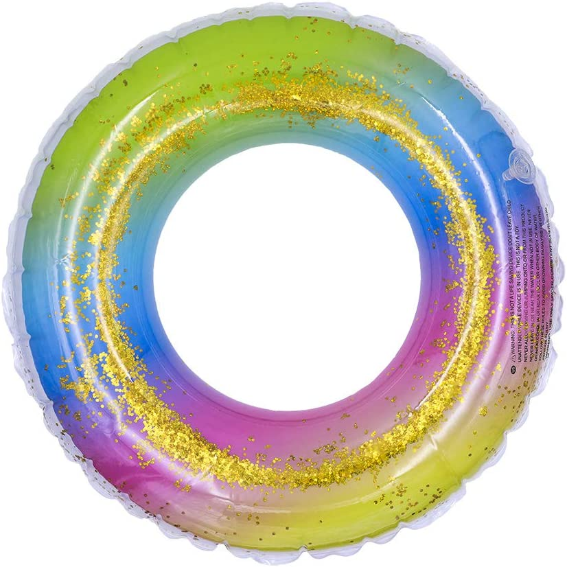 Rubber Glitter Swimming Ring Inflatable For Use In The Pool Or Sea 24/'/'