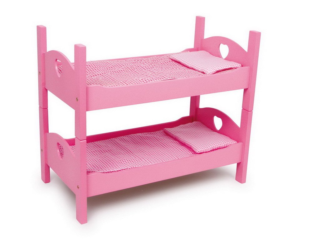 Etagenbett Puppen : Einzel etagenbett pink aus holz mit passender karo bettwäsche und