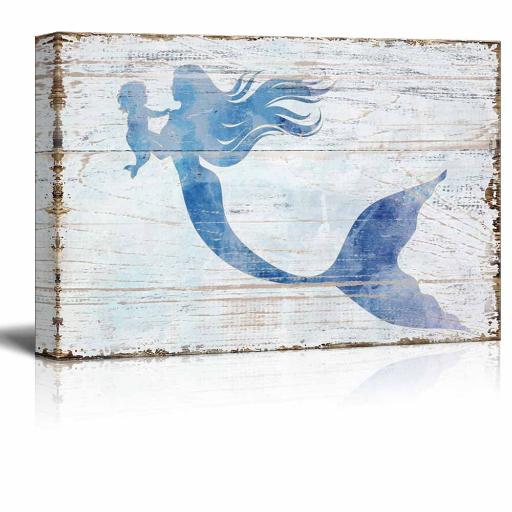 wall26 Canvas Wall Art - Mother Mermaid Holding Baby Mermaid | Maternal Love Ocean Theme Rustic Country Style Creative Mother's Day Gift - 18'' x 12''