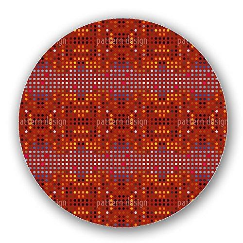 Uneekee Australian Point System Lazy Susan: Large, pure birch wooden Turntable Kitchen Storage (Tangerine Dots Chocolate)