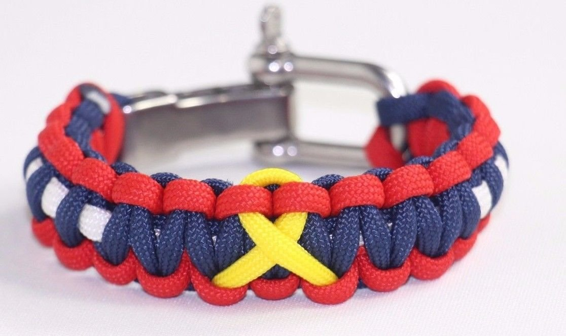 Support Our Troops 550 Paracord Tactical Bracelet Adjustable Stainless Steel Shackle