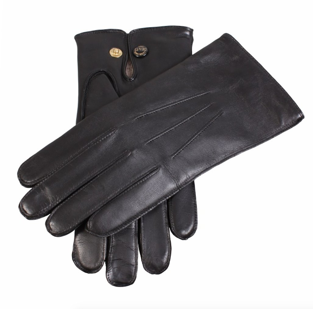Dents Men's Kangaroo Leather Gloves Cashmere Wool Lined Gloves Winter (with Gift Box) (Small, Black)