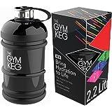 The Gym Keg – Hochwertige, Leichte 2,2 Liter Wasserflasche mit Handgriff – Umweltfreundlich und BPA-Frei, Große Sport-Trinkflasche für Fitness & Bodybuilding – Stabiler Dank 40% Dickerem Plastik
