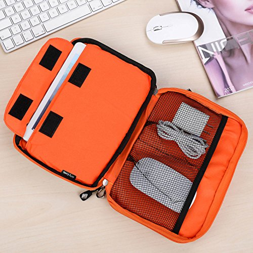 Electronics Organizer, Jelly Comb Electronic Accessories Cable Organizer Bag Waterproof Travel Cable Storage Bag for Charging Cable, Cellphone, Mini Tablet (Up to 7.9'') and More (Orange and Gray) Photo #10