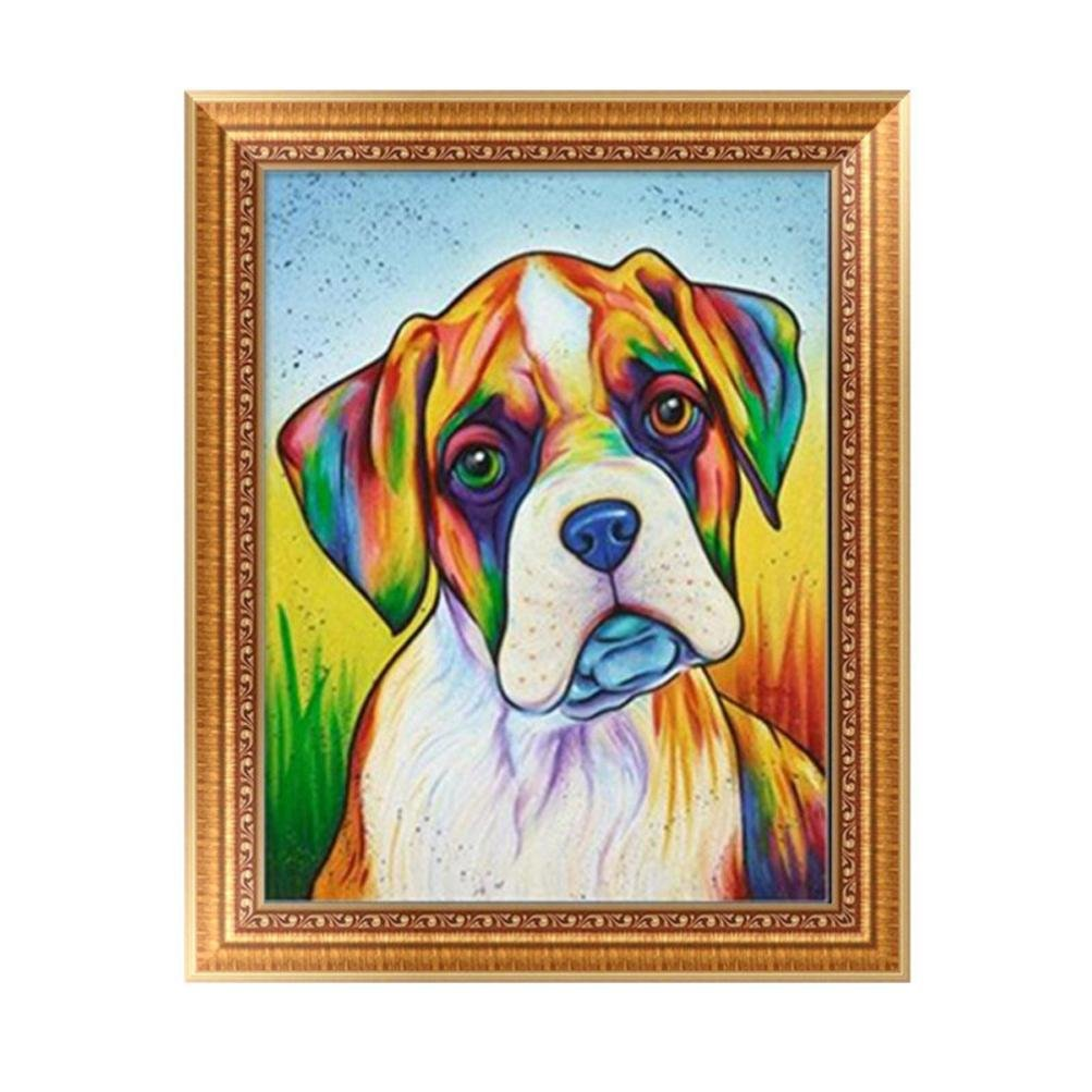 Usstore 1PC 5D DIY Dog Painting Diamond Embroidery Rhinestone Diamond Painting Cross Crafts Stitch For Home Room Decoration Mural Collect (A)