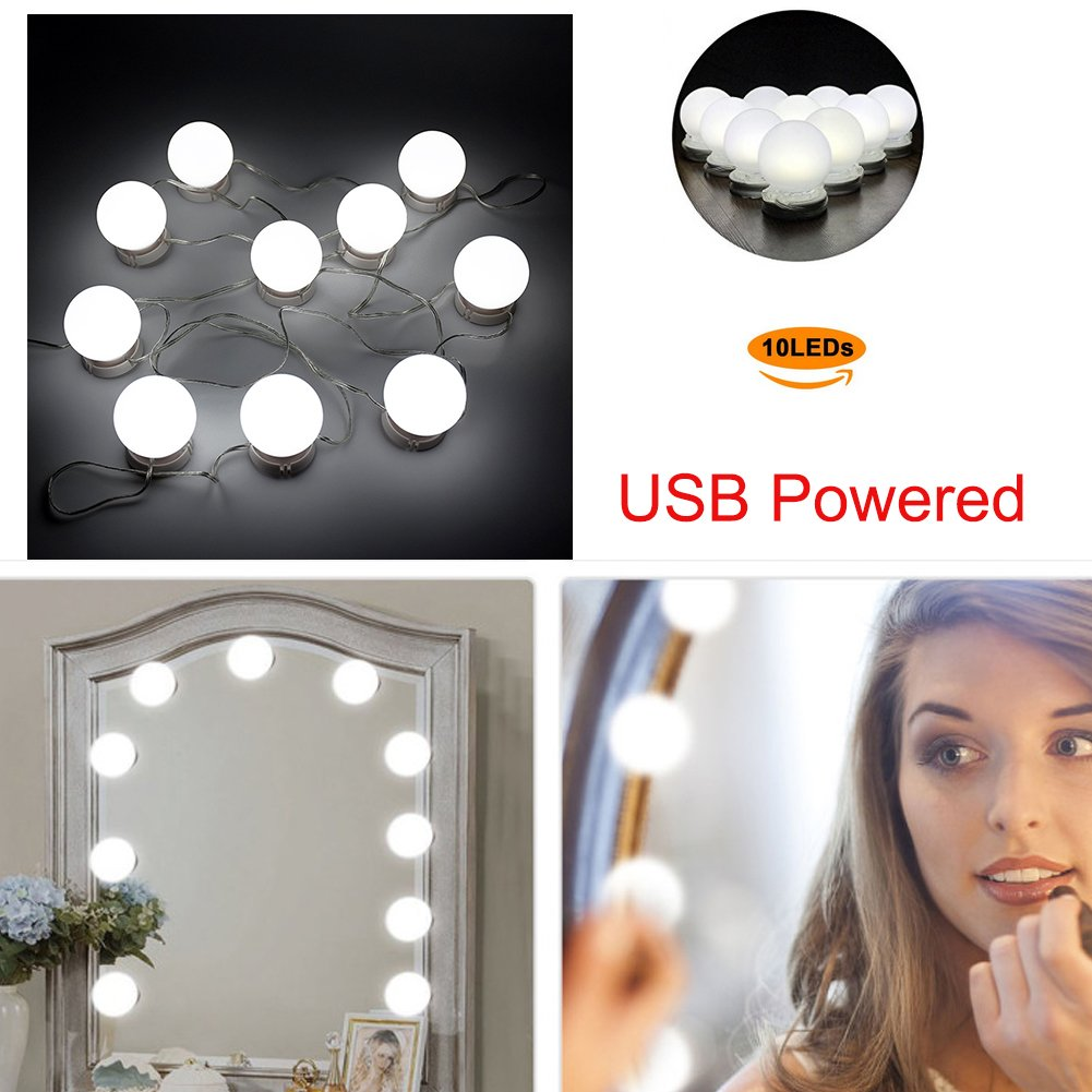 LED Makeup Mirror Light Strip, Ragdoll50 4.6m 10 LED Makeup Mirror Light Strip With Adjustable Hidden Wire for DIY Makeup Cupboard Cabinet Wardrobe Vanity Dressing Table