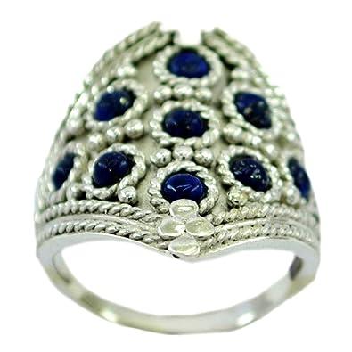 608690270ebe4 Amazon.com: Genuine Lapis Lazuli Ring For Women Sterling Silver ...