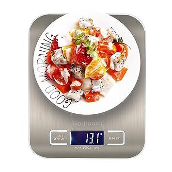 Báscula Digital Cocina de Acero Inoxidable, Godmorn Balanza Cocina con Gran Pantalla LCD, Blanza