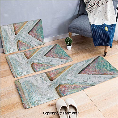 3 Piece Flannel Bath Carpet Non Slip Scratched Looking Typographic Element Uppercase K Printing Theme Rough Vintage Decorative Front Door Mats Rugs for Home(W15.7xL23.6 by W19.6xL31.5 by W15.7xL39.4)