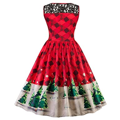 appoi womens christmas party dress print lace christmas tree firefly checkered women dress vintage red snow