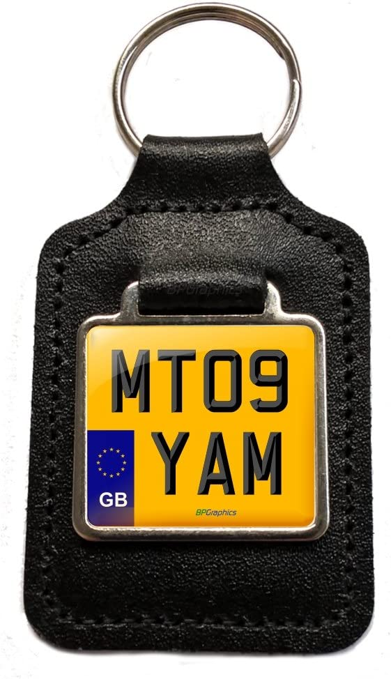 BPGraphics MT09 YAM Reg Number Plate Keyring Gift in Black Leather Key Fob for Yamaha MT09 Mt-09 Motorcycle Keys. GB