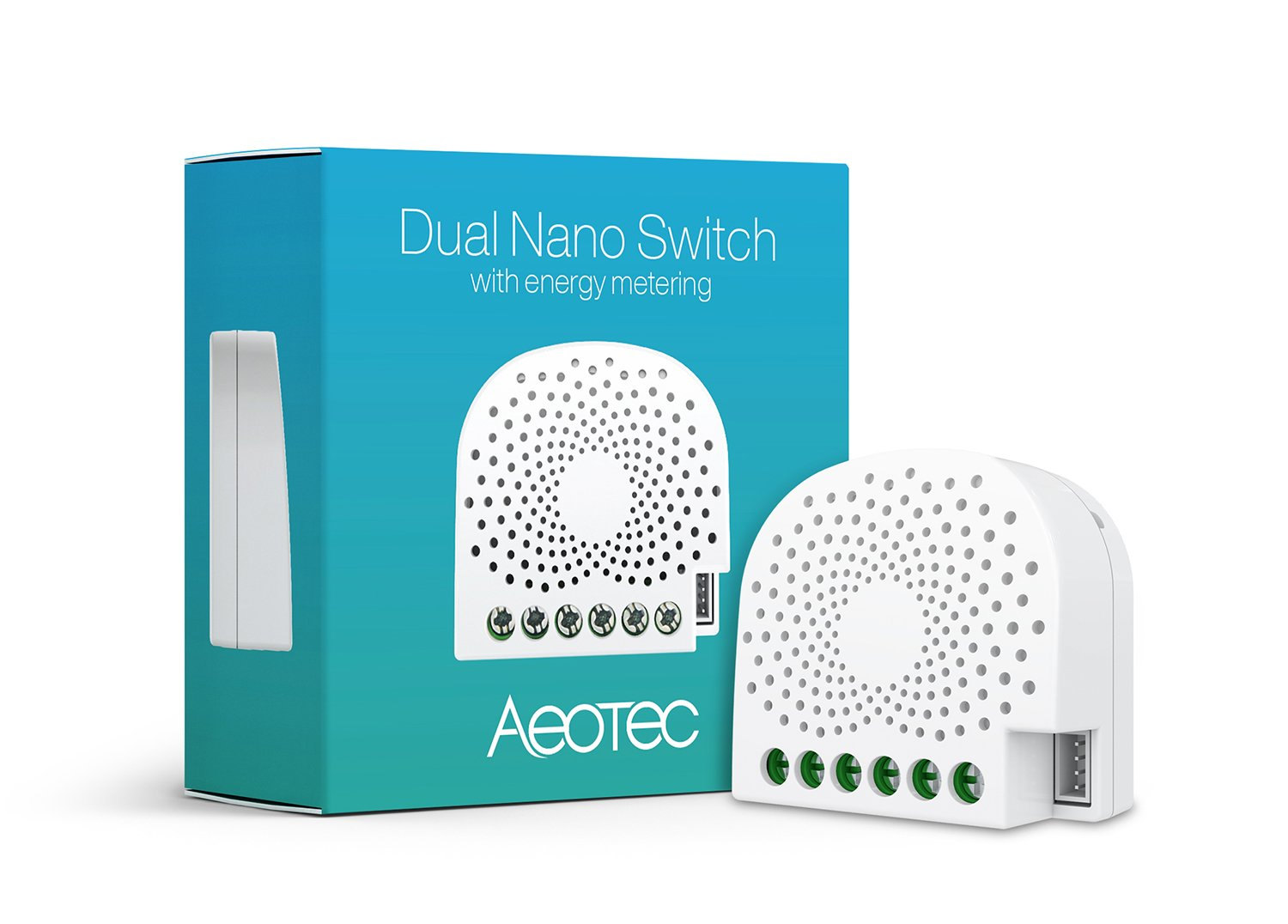 Aeotec Dual Nano Switch on / off controller with power metering, 2 ...
