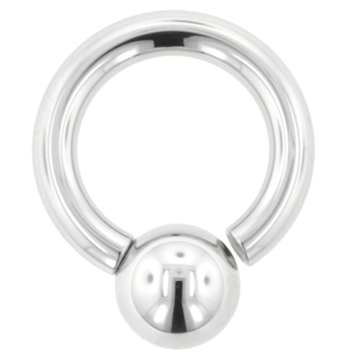 One Stainless Steel Screw On Ball Ring: 8g 3/4'' Ball: 3/8'' (SOLD INDIVIDUALLY. ORDER TWO FOR A PAIR.)