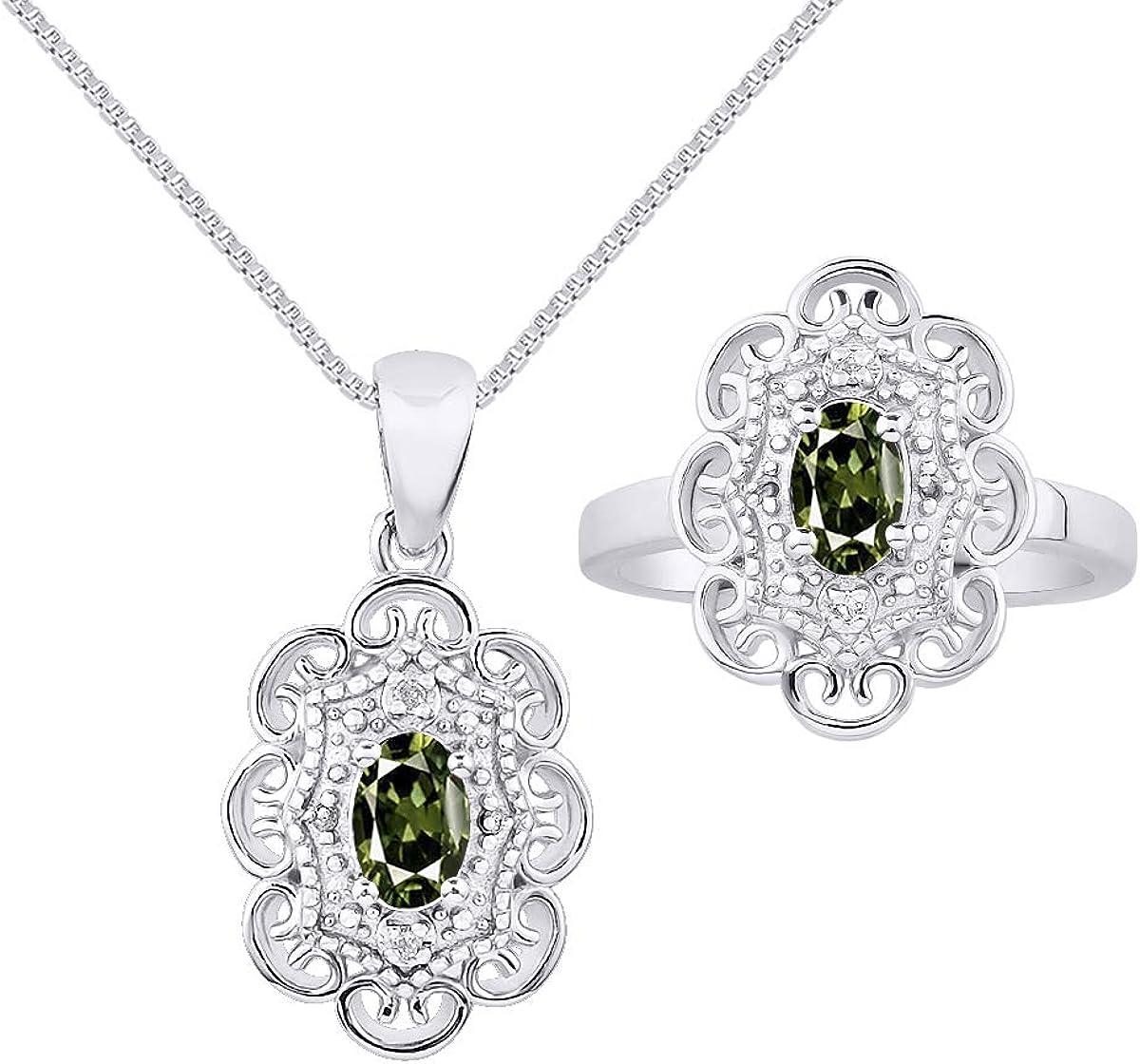 RYLOS - Collar con colgante de halo con patrón floral y anillo a juego, forma ovalada, piedra preciosa y diamantes brillantes auténticos en plata de ley 925-6 x 4 mm esmeralda, rubí y zafiro