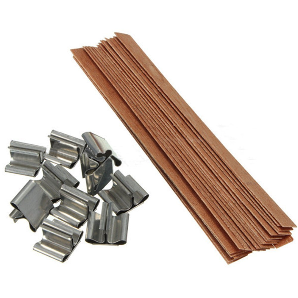 5 x0.6 inches JoinPro 50 Pieces Wood Candle Wicks Low Somke Core with 50 Sustainers Tabs for Candle Making and DIY Crafts