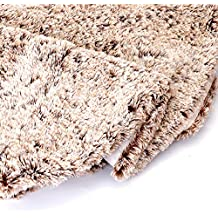 Wishdiam 48 inch Brown Faux Fur Furry Christmas Tree Skirt Luxury Soft Double Layers Xmas Decorative Handicraft for Holiday Party Pet Favors Spot