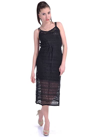 Anna K Sm Fit Black Spaghetti Strap All Over Crochet Lace Calf